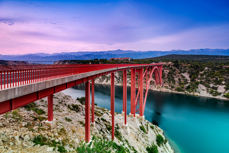 Colorful evening view of Maslenica bridge In Dalmatia, Croatia. Wide angle, long exposure and color grad filters used.