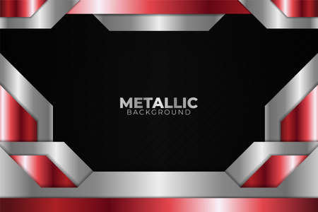 Modern Futuristic Abstract Shiny Metallic Red and White with Dark Background 矢量图像