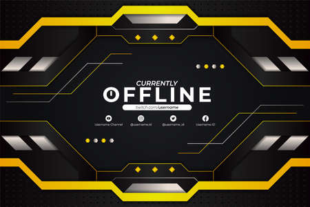 Futuristic Modern Gaming and Social Media Banner Currently Offline Glossy Yellow and Dark Grey Metallic Background