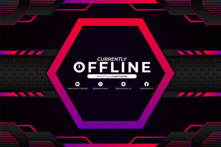 Futuristic Modern Gaming Stream and Social Media Banner Currently Offline Concept Background Purple Pink