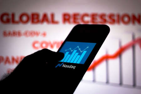 June 19, 2020, Brazil. In this photo illustration the Nasdaq Composite logo seen displayed on a smartphone