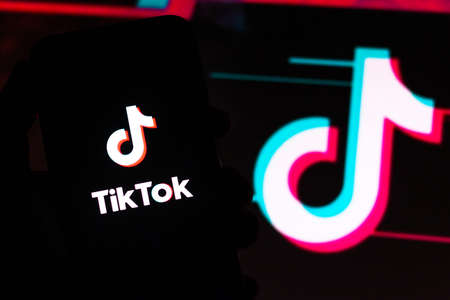 July 25, 2020, Brazil. In this photo illustration the TikTok logo seen displayed on a smartphone