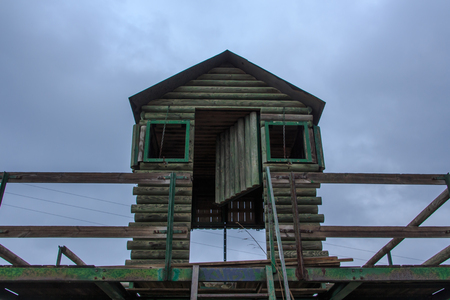 The mountain watchman`s wooden hut always at the top