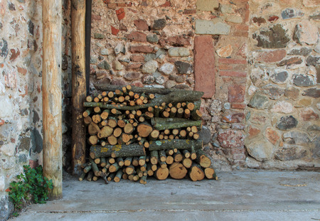 Wood logs well ordered for next winter. Foto de archivo