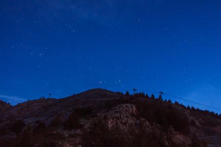 Nocturne de las pistas de esquí de La Molina Foto de archivo