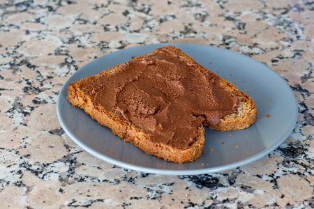 Slice toast with cocoa cream on blue plate