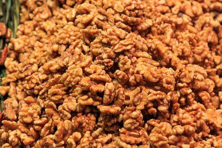 Bulk peeled bulk in the Boqueria Market. Food concept