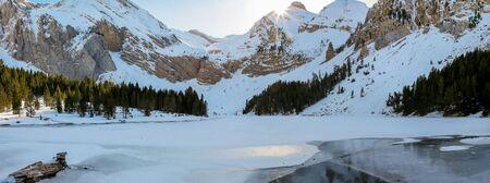 Panoramic view of the Ibon de Plan (Huesca). Nature winter concept