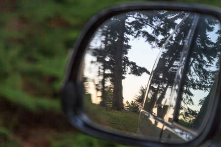 Trees with sunset in rear view mirror. Moments of the day concept