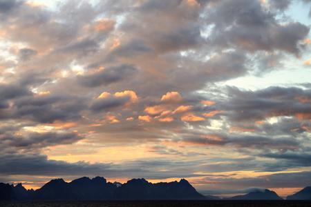 scandinavian peninsula: lofoten island sunset Stock Photo