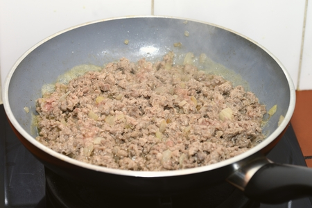 bolognese sauce: Bolognese sauce cooking Stock Photo