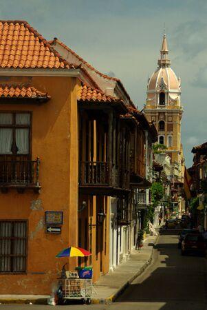 colonial church: Old Street in Cartagena de Indias