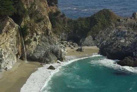 big sur: Big Sur beach and waterfall