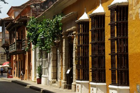 Colonial architecture in Cartagena in Colombia photo
