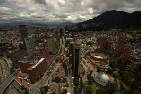 colombia: Overview of Bogota downtown and financial district