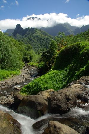 honey moon: Waterfall and river in the jungle near Tahiti