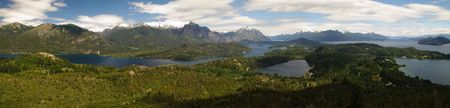 bariloche: Panorama view of Barioche and its lake in Patagonia of Argentina Stock Photo