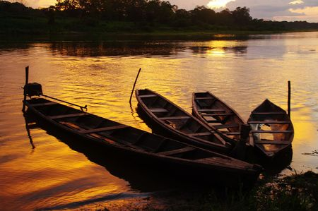 Sunset in Puerto Narino in the Amazon between Peru and Colombia photo