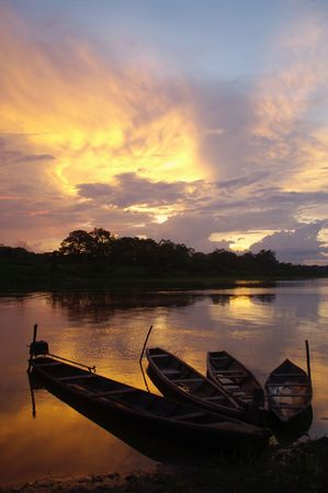 amazon: Late afternoon in Puerto Narino in the Amazon between Peru and Colombia