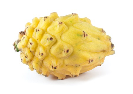 differs: Native to south america and central america, the yellow pitahaya differs the dragon fruit, its asian counterpart.