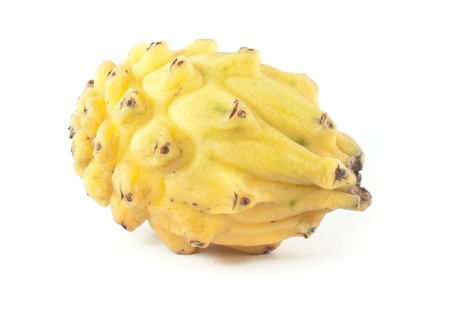 Native to south america and central america, the yellow pitahaya differs the dragon fruit, its asian counterpart. photo