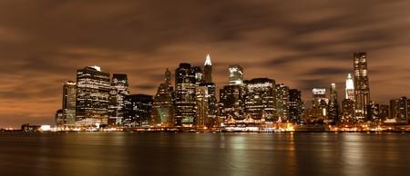 Night view of New York skyline photo