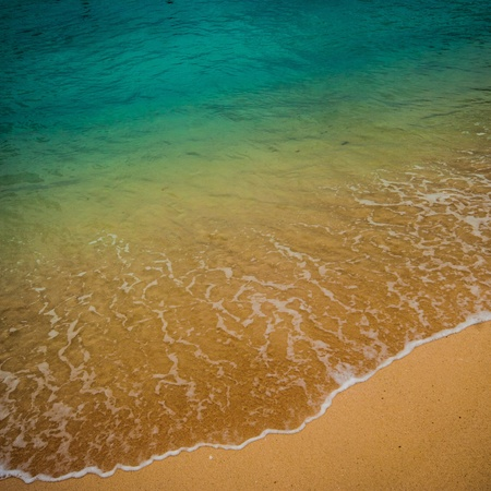 Transparent water above a white sand beach in the West Indies photo