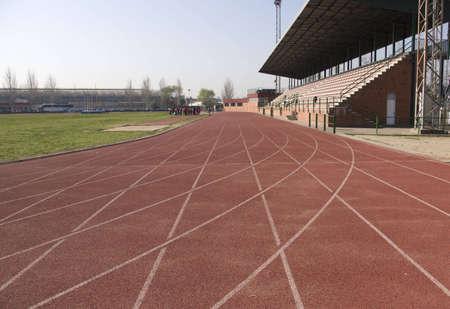 Athletics tracks background Stock Photo