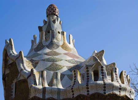 guell: Park Guell Antoni Gaudi Barcelona Spain Stock Photo