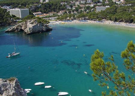 Aerial view of Cala Galdana beach at Menorca Island, Spain.  Beatiful blue water.