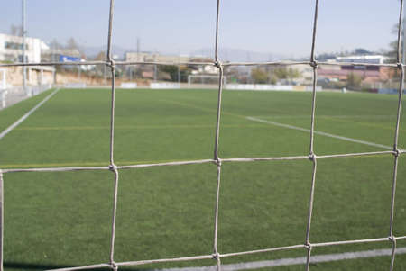 Field view across the football net photo