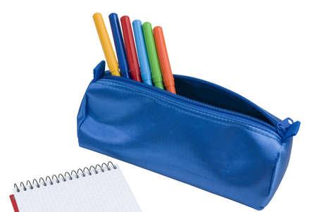 A Blue school case with color pens photo