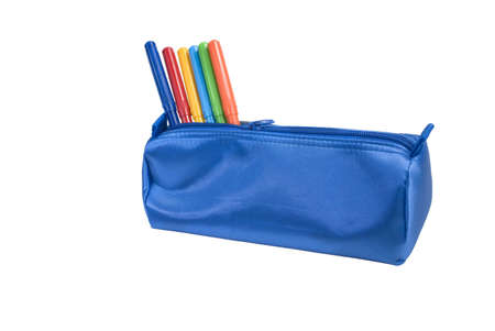 A Blue school case isolated on a white background