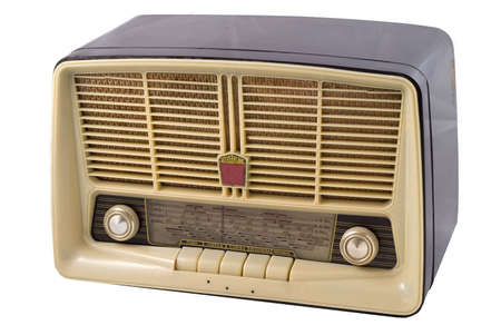An old radio isolated on a white background Stock Photo