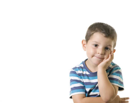 An Adorable kid bored  ( isolated on white ) Stock Photo