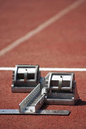 Athelitcs concept   start boxes at the athletics stadium   Stock Photo