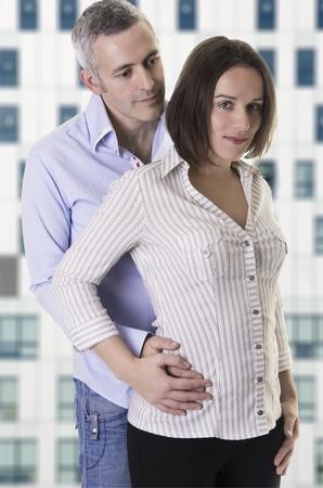 European couple   man with arms around her   Stock Photo - 18126337