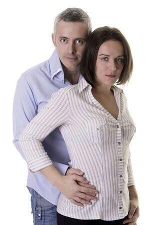 Attractive man and woman being serious