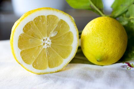 closeup of two fresh lemons