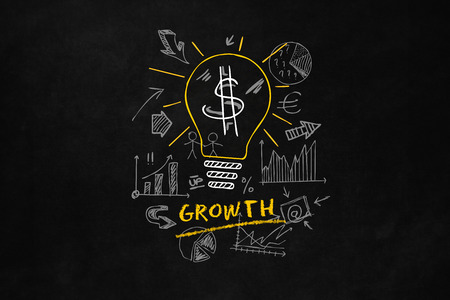 yello: A light bulb indicates an idea for growth, A conceptual design about the growth, A big yello lightbulb with 6 smaller lightbulbs and the text Growth Stock Photo