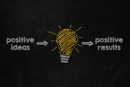 The importance to be optimist, A yellow lightbulb indicates that a positive idea leads to a positive result, A good advice to reach success