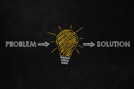 A conceptual problem solving design, Ability to solve problem, A big yellow lightbulb indicates an idea to solve problems Archivio Fotografico