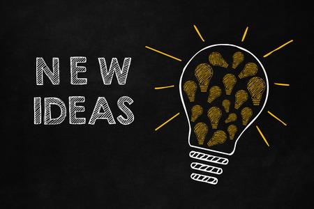 Nieuwe ideeën concept met een grote gloeilamp geïsoleerd op een schoolbord. Een grote lamp die een veel kleinere gele gloeilamp bevat. Samenwerking genereert nieuwe ideeën