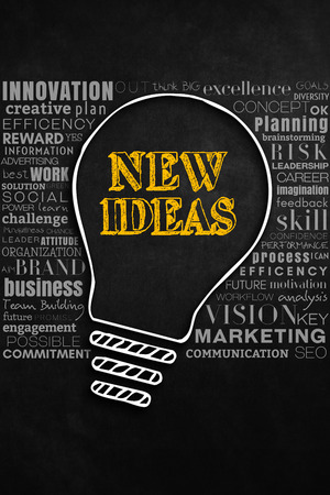 generate: Cooperation generate new ideas. A modern design of new ideas concept. A big light bulb designed on a background composed by a lot of business terms