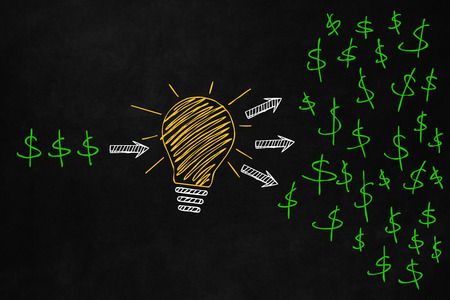 increase business: Increase your money concept with a light bulb isolated on the blackboard. The effect of a good idea on your investments increase. A big yellow light bulb with dollar signs indicate the way to expand your business Stock Photo