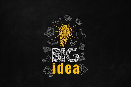 increase business: A big idea concept designed on a blackboard with business symbols. Big idea improve your investment. A motivational slogan to increase your money.