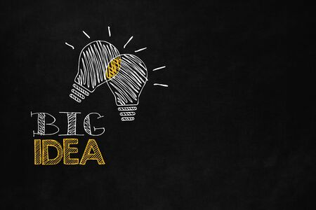 A big idea concept designed on a blackboard. A motivational slogan to increase your money.Two light bulb show the power of synergy