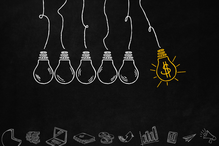 business decisions: Idea light bulb concept to increase your money. A series of light bulbs and business symbols with copyspace. Improve your money with right decisions.