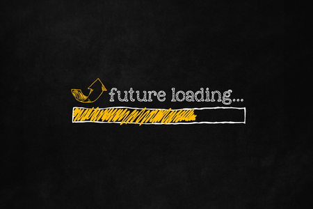 self improvement: Future loading concept with copyspace, suitable for career, self improvement, motivation. Progress bar loading future for personal growth or business improvement. Incoming future hand drawn concept.