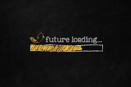 Przyszłość koncepcji ładowania z copyspace, nadaje się do kariery, samodoskonalenia, motywacji. Pasek postępu ładowania przyszłość rozwoju osobistego lub poprawy gospodarczej. Przychodzące przyszłość wyciągnąć rękę koncepcji. Zdjęcie Seryjne